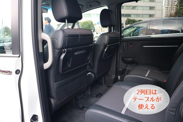 新型ステップワゴンの後部座席はテーブルが使える